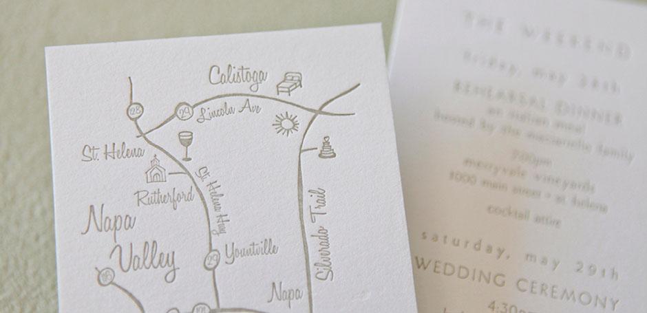 Napa Valley Custom Wedding Map