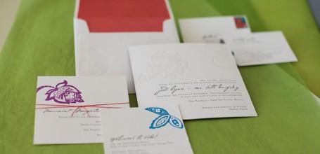 Colorful letterpress Mexico wedding invitation, 5 piece set.