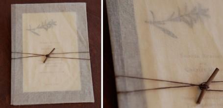 Twig tie pressed flower custom wedding invitation with overlay.