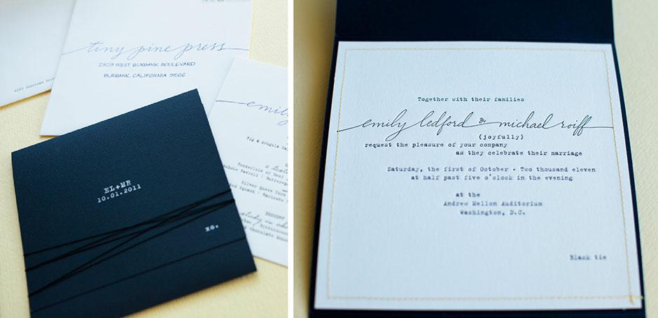 Typewriter font letterpress wedding invitation with folder and stitched border.