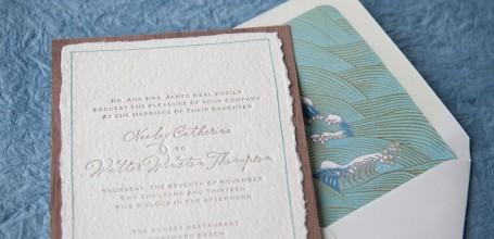 Handmade wedding invitation on wood with Japanese envelope liner