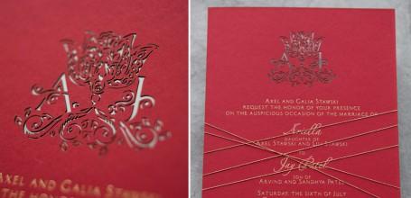 Laser cut wedding invitation with custom monogram