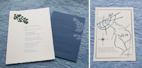 Custom wedding map of Louisville and fern wedding invitation