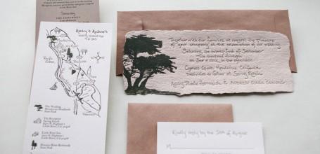 Handmade paper wedding invitation suite