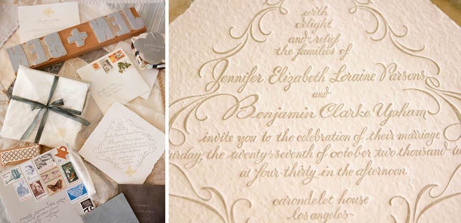 Old fashioned handmade wedding invitation