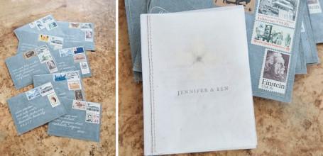 Stitched envelope wedding invitation