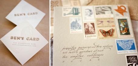 Laser cut website card and vintage stamps