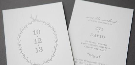Letterpress wreath save the date